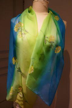 foulard soie peint main, mimosa écharpe soie, cadeau femme, étole soie,  écharpe 895ff477775