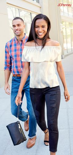 Date night outfit is easy with distressed denim and a shiny top. An off the shoulder top is a great piece to start your date night look. Pair distressed jeans with high heels and add a clutch and choker to complete your style for a hot date night.