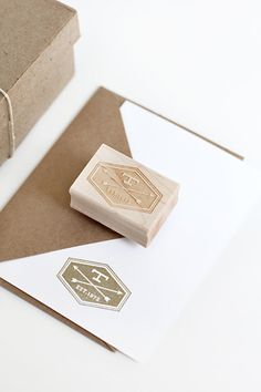 Custom Rubber Stamp with Arrow & Initial by @BesottedBrand, $40.00 #rubber #stamp #custom