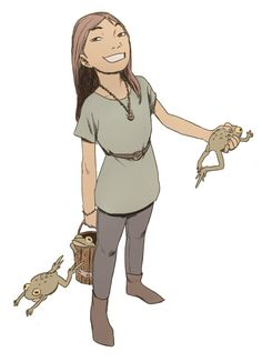 Little frog-catching girl. Attempting to emulate Tatsuyuki Tanaka's muted color tones.