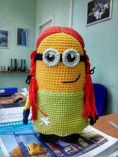 Cute crochet Minion Girl :) She is so cute!! :)  A great gift for your child or friends.    **- Made to order item**- Please allow 7 days to create