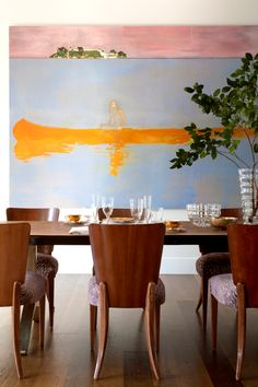 Peter Doig painting in dining room /Katie Lydon Interiors Cozy Kitchen, Dining Table, Dining Rooms, Local Artists, Creative Art, Home Art, Living Spaces, Abstract Art, Wall Decor
