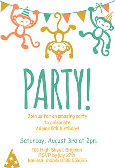 """""""Childrens Party"""" printable invitation. Customize, add text and photos. print for free!"""