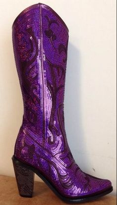 These purple sequin boots are a must for every woman! They bring just enough bling to every outfit! Helens Heart tall sequin boots look great with skirts, dresses, shorts, or jeans! Every fashionista will love these boots! Purple Love, All Things Purple, Shades Of Purple, Deep Purple, Magenta, Purple Stuff, Mauve, Purple Boots, Boot Bling