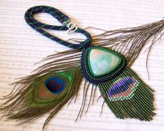 Beadwork Bead Embroidery Pendant Necklace with Agate - PEACOCK - blue - green - red. $85.00, via Etsy.