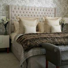 Neutral Bedroom {love faux fur blankets}