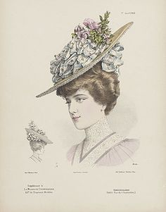 1905 Hat with ribbons Victorian Hats, Edwardian Era, Victorian Women, Edwardian Costumes, 1900s Fashion, Edwardian Fashion, Vintage Fashion, Women's Fashion, 20th Century Fashion