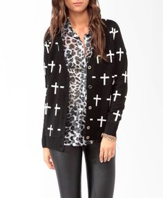black cardigan with white crosses - forever 21