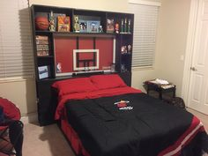 Custom made boys basketball theme headboard. #boysroom #basketball #headboard #sports #teen