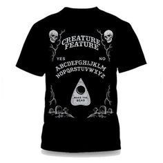 Help Creature Feature wake the Dead by purchasing your very own spirit board t-shirt.Light grey artwork on black t-shirt.Limited edition of only 666 printed!Available in unisex sizes (Small, Medium, Large, X-large,