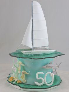 Katamaran Torte Cake Segeln Meer Haifische Seepferdchen Fondant Motivtorte Isomalt Ocean Cakes, Beach Cakes, Unique Cakes, Creative Cakes, Surf Cake, Marine Cake, Boat Cake, Nautical Cake, Fantasy Cake