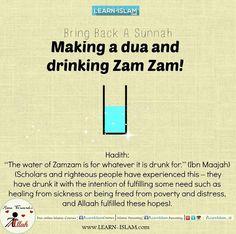 Drinking zam-zam and doing dua is guaranteed to be done if He wills. Islam Hadith, Islam Muslim, Islam Quran, Alhamdulillah, Islamic Inspirational Quotes, Religious Quotes, Islamic Quotes, Hadith Quotes, Quran Quotes