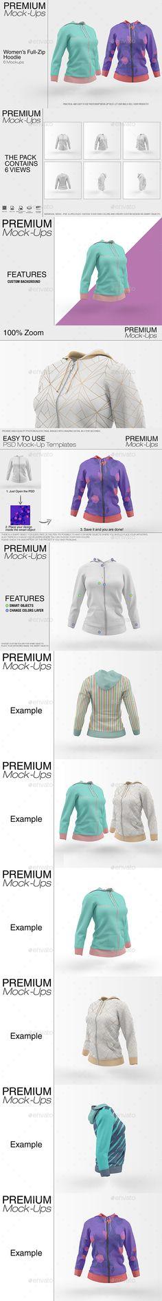Women's Full-Zip Hoodie #Mockup - Print Product Mock-Ups