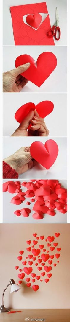 Make a 3D Paper Heart For Decoration  Here  is another simple but effective way to decorate a wall, for example.  You can make such he...
