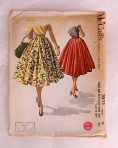 Vintage Circle Skirt Pattern - Rockabilly 1955 Box Pleated Circle Skirt Pattern - McCall's 3511