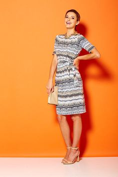 Draped 3/4 sleeve printed knit dress