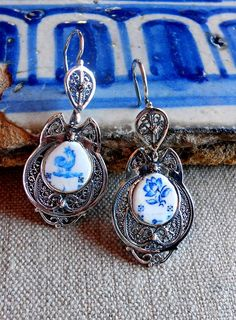Portugal. Portuguese Silver Filigree Earrings with Azulejos. From Átrio