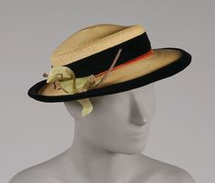 1930s, America - Woman's Hat by Tatiana of Saks Fifth Avenue - Natural straw, black and red velvet ribbon, pale green articial leaves
