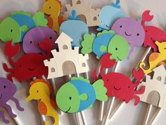 Set Of 24 Under The Sea Cupcake Toppers, Whale,Crab,Fish,Jellyfish,Seahorse,Sand Castle,Baby Shower,Bithday, First Birthday,Sea Life via Etsy