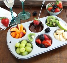 Inspired Edibles: DIY Chocolate Fondue for Two {{this would be a perfect serving option for the kiddos}}