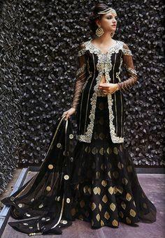 Embroidered Art Silk Jacquard and Net Lehenga in Black