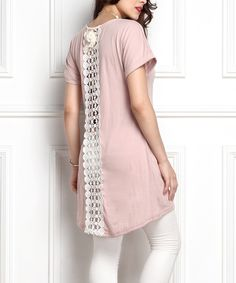 This Mauve Lace-Panel Boyfriend Tunic - Plus by Reborn Collection is perfect! #zulilyfinds