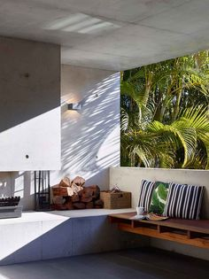 Dover house is a project that involves the fusion of a traditional Queenslander and a concrete garden room. Outdoor Kitchen Bars, Backyard Kitchen, Small Outdoor Spaces, Outdoor Living Rooms, Living Spaces, Dover House, Brisbane Architects, Commercial, Residential Interior Design