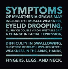 MG Symptoms - blurred vision, double vision, droopy eyelids, fired feeling