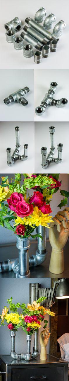 Florero con tubos galvanizados / Via www.todaysnest.com