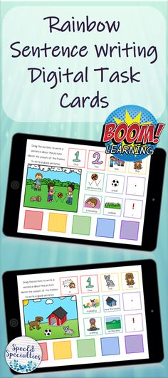 These digital task cards are perfect for distance learning at home during the CO-VID19 pandemic!  Students practice writing complete sentences with proper grammar using the drag-and-drop words and phrases that are provided.  Colour-coded for scaffolded support for early learners, ELL students, and special education.  For use on any Internet-enabled device, BOOM Cards are self-grading, and provide immediate feedback to students.  Click to check them out! Writing Complete Sentences, Sentence Writing, Writing Practice, Touch And Feel Book, Ell Students, Education Information, Special Education Classroom, Teacher Organization, Writing Activities