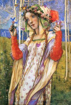 British painter Edward Reginald Frampton (1870-1923) was known for working in the Pre-Raphaelite style. Mr. Frampton was specialized in murals, ...
