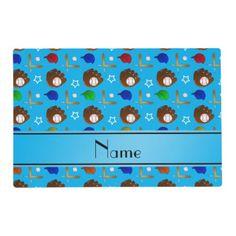 Custom name sky blue baseball glove hats balls placemat