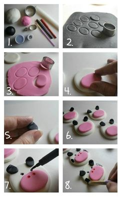 How to Make Fondant Cow Face Cupcake Toppers {Farm Animal Cupcake Toppers Series, Part by Rose Bakes cupcakes decoration hochzeit ideas ideen recipes rezepte cupcakes cupcakes cupcakes Fondant Toppers, Fondant Cupcakes, Cow Cupcakes, Farm Animal Cupcakes, Birthday Cupcakes, Cow Birthday Cake, Lemon Cupcakes, Strawberry Cupcakes, Diy Cupcake