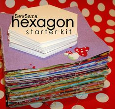 hexagon starter kit:    100 pre-cut squares (size - 3.25)  (no repeats!)   - 100% cotton, not pre-washed.      50 cardstock hexagons   - 1.25 (each side)