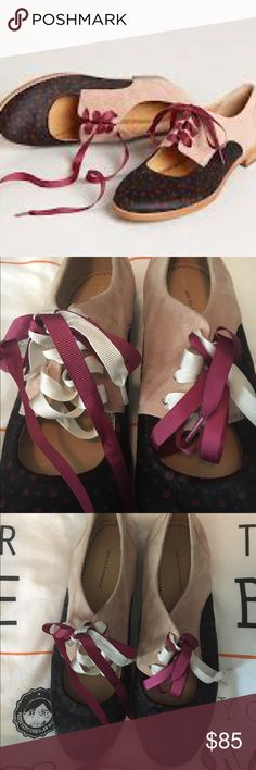 Stunning anthropologie Olivia oxford cutout shoes Barely worn. Size 8 true to size. Beautiful baby pink suede and other eclectic luxurious fabrics combine to make a statement shoe versatile enough for work or the weekend.  These sold out fast and are really even more stunning in person. Anthropologie Shoes Flats & Loafers
