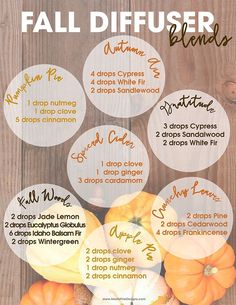 your home with wonderful fall smells like cinnamon, clove, nutmeg and orange in perfect Fall Diffuser Essential Oil Blends.Fill your home with wonderful fall smells like cinnamon, clove, nutmeg and orange in perfect Fall Diffuser Essential Oil Blends. Fall Essential Oils, Essential Oil Diffuser Blends, Essential Oil Uses, Young Living Essential Oils, Clove Essential Oil, Nutmeg Essential Oil Recipe, Doterra Diffuser, Essential Oils For Headaches, Cinnamon Essential Oil