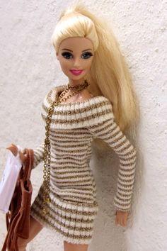 Mattel Barbie, Barbie And Ken, Barbie Dress, Barbie Clothes Patterns, Clothing Patterns, Clothes Crafts, Doll Clothes, Ken Doll, Knitted Dolls