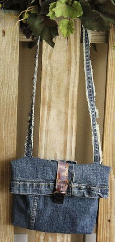 Hand-made upcycle small blue jeans purse for teens  #Handmade #ShoulderBag