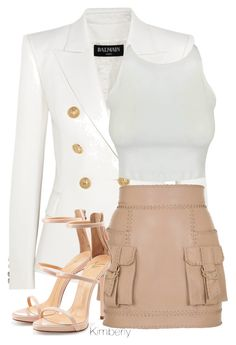 """""""Untitled #2358"""" by whokd ❤ liked on Polyvore featuring Balmain and Giuseppe Zanotti"""