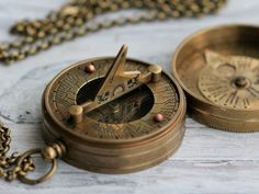 Antique Nautical Brass Pocket Sundial by CoughingCowNChicken, $30.00