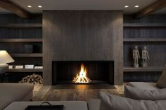 20 Of The Most Amazing Modern Fireplace Ideas interior corrugated material is cool. also having an enormous fireplace with center wood looks surprisingly nice. Linear Fireplace, Home Fireplace, Fireplace Surrounds, Fireplace Design, Fireplace Ideas, Fireplace Mantels, Wood Mantle, Fireplace Modern, Fireplace Screens
