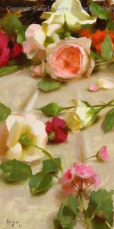 ❀ Blooming Brushwork ❀ - garden and still life flower paintings - Daniel J. Keys | Spring Roses