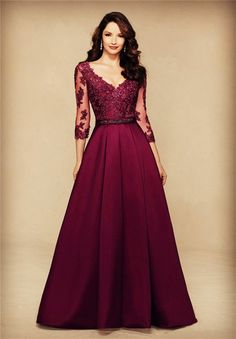 A Line V Neck Long Burgundy Satin Lace Sleeve Mother Of The Bride Evening Dress