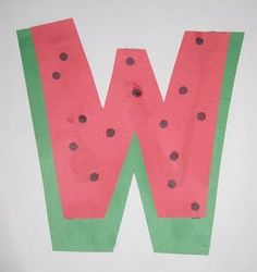 The letter W–this one is cute! Hope watermelons are still ripe by letter W! The letter W–this one is cute! Hope watermelons are still ripe by letter W! Preschool Letter Crafts, Alphabet Letter Crafts, Abc Crafts, Alphabet Book, Letter Art, Letter Tracing, Preschool Names, Typography Alphabet, Spanish Alphabet