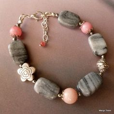 SALE Nirvana Bracelet  Gray Agate Pink Rhodonite by MangoTease $16.00