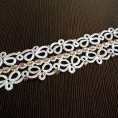 izabelkasjewelry - Tatted bracelet  #tatting #bracelet #jewelry #handmade #lacy #wedding #frywolitka #koronkowa #bransoletka #ślub #rękodzieło #biżuteria