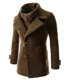 Single Breasted Detachable Collar Wool Blend Winter Coat