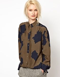 BACK by Ann-Sofie Back Clear Strap Blouse in Cow Print