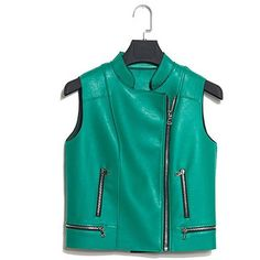 Yoins Green High Quality PU Biker Vest (3.965 RUB) ❤ liked on Polyvore featuring outerwear, vests, coats & jackets, green, green waistcoat, vest waistcoat, zip up vest, zip vest and biker vest