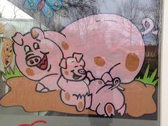Raamschildering Lente. Jong dieren